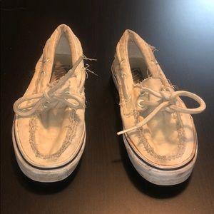 Tan Vans Boat Shoes with Laces, Fray Detail, Sz 6